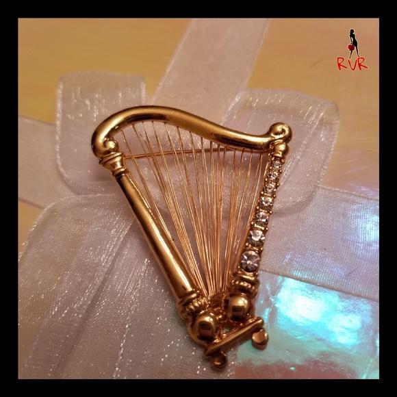 Vintage Jewelry - VINTAGE HARP WITH RHINESTONES BROOCH PIN